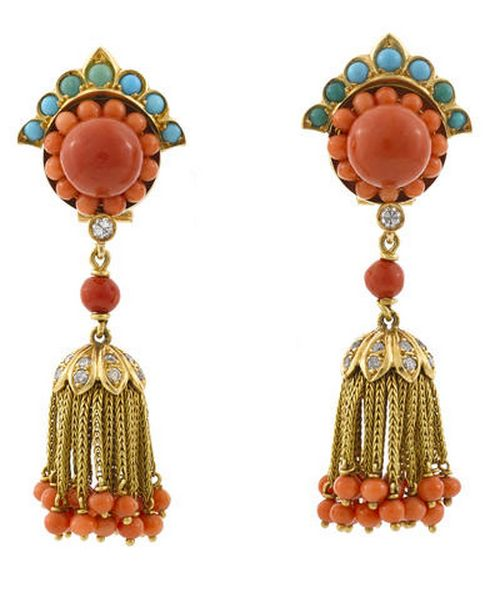 A pair of coral, turquoise and diamond day/night earrings mounted in nineteen karat gold; length: 2 5/8in.