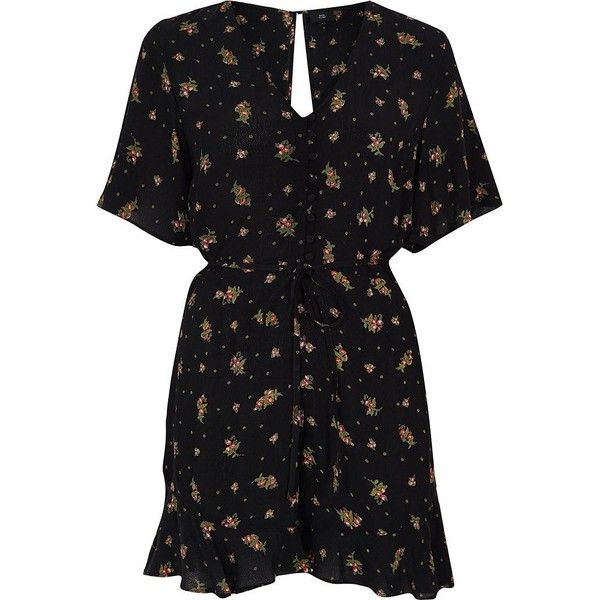 River Island Petite black ditsy floral print romper ($72) ❤ liked on Polyvore featuring jumpsuits, rompers, black, rompers/ jumpsuits, women, polka dot jumpsuit, playsuit jumpsuit, v neck jumpsuit, tall jumpsuit and petite rompers