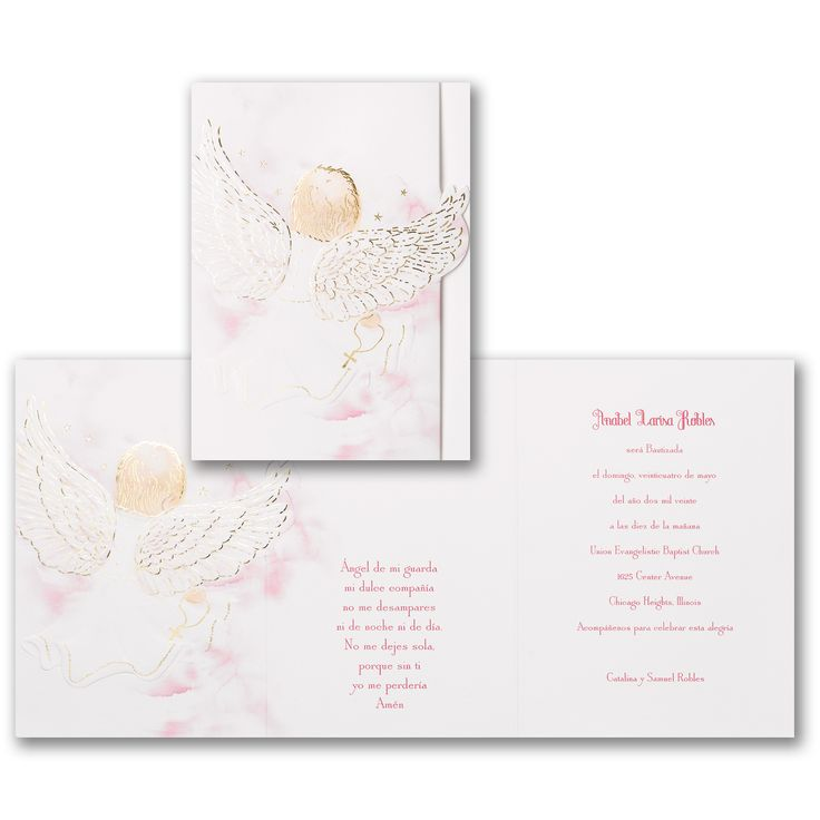 Blessed Girl Invitation Angelic baby wings