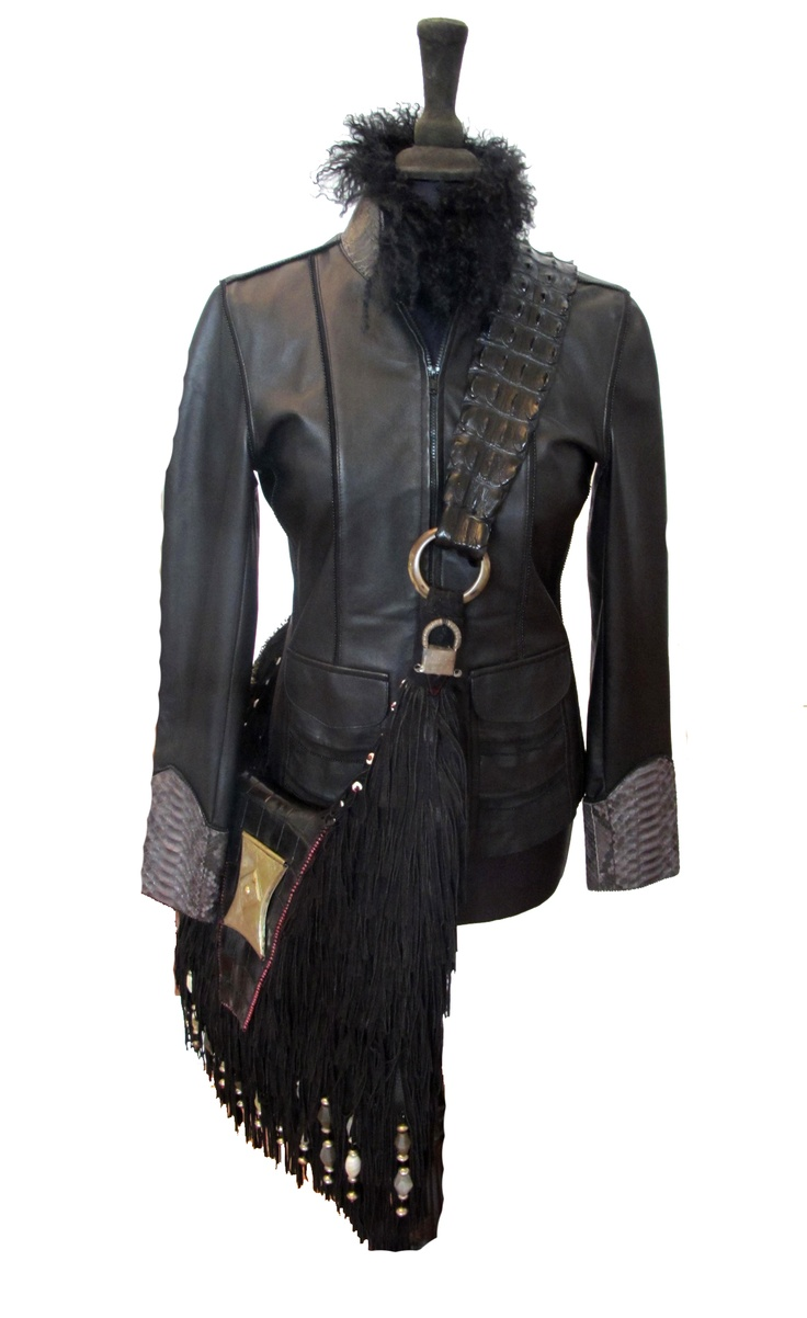 B Biker Jacket in Nappa with Python Cuffs and Shealing Collar.  We Deliver Worldwide. Order now by writing to us on Facebook or e-mailing sales@annatrzebinski.com.  For further information about our products, studio and upcoming trunk shows please feel free to contact us.