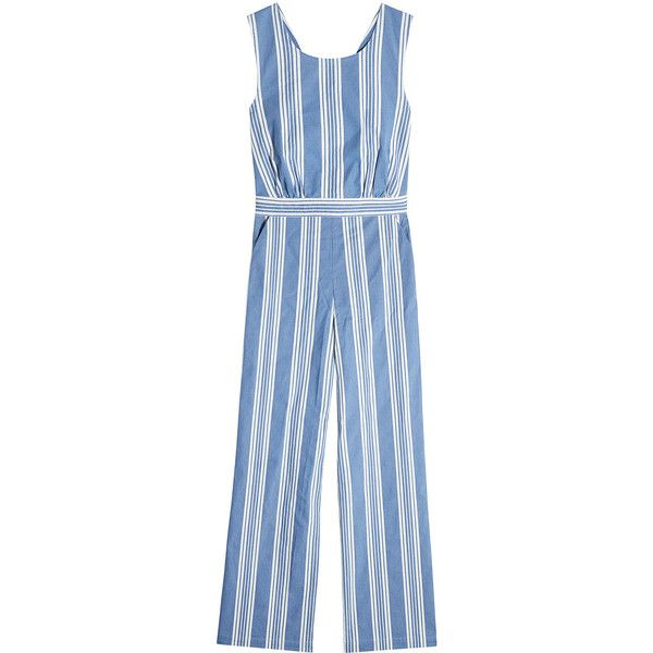 M i H Striped Cotton Jumpsuit found on Polyvore featuring jumpsuits, stripes, cotton jumpsuit, blue wide leg jumpsuit, summer jumpsuits, blue jump suit and ruffle jumpsuit