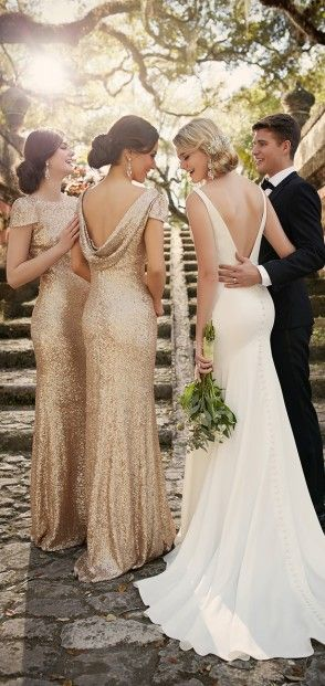 Scoop back sequence gold bridesmaid dress complete the elegant wedding look - Wedding dress by Essense of Australia Spring 2016 Bridal Collection