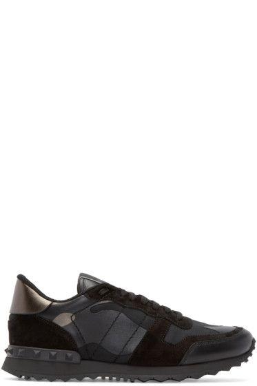 Valentino - Black & Gunmetal Camo Sneakers