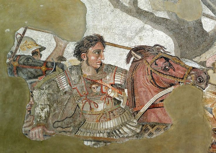 Alexander and Bucephalus - Battle of Issus mosaic - Museo Archeologico Nazionale - Naples BW - Αρχαία Ελλάδα - Βικιπαίδεια