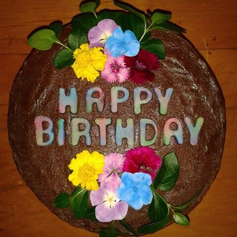 Colourful chocolate birthday cake