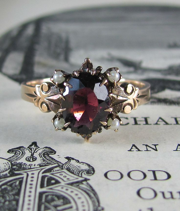 STUNNING garnet Victorian ring with pearls, solid gold antique engagement ring, vintage ring, pearl ring, statement ring, stacking ring. by LeolaRevives on Etsy https://www.etsy.com/listing/208472450/stunning-garnet-victorian-ring-with