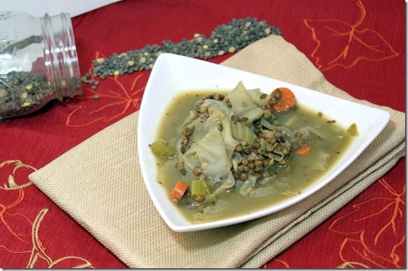 Cabbage Lentil Soup 284g ~145kcals and 9.6g protein