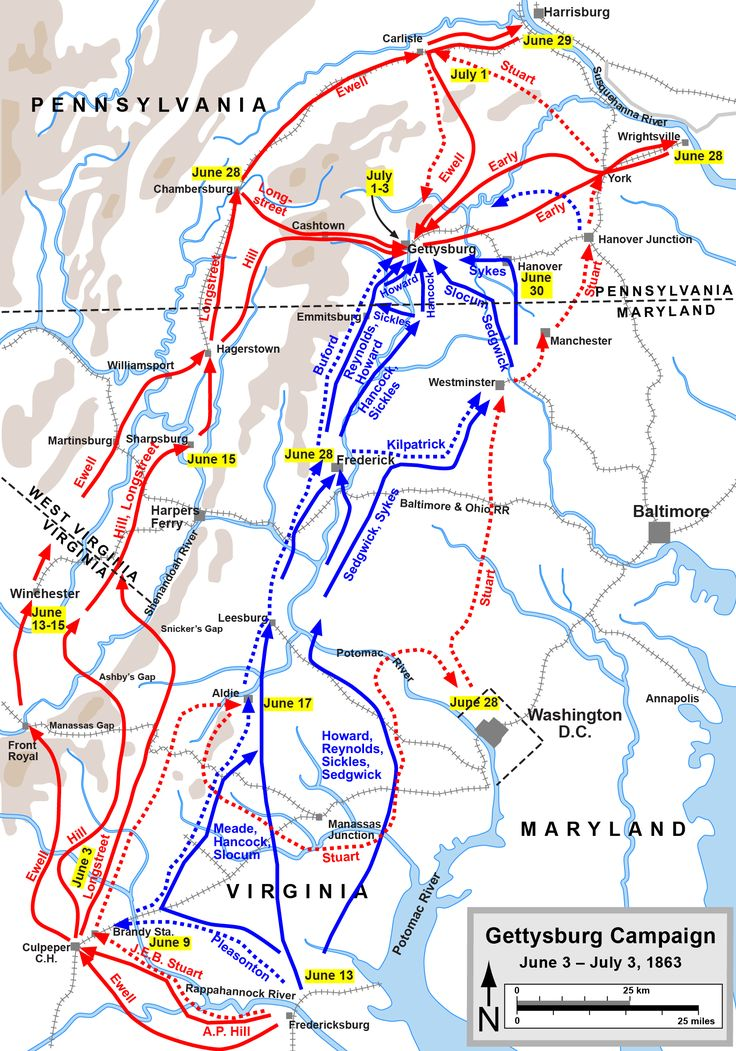 Robert E Lee decided to bring the war to the Union's soil. This map shows the confederacy, in red, met accidentally by the Union in blue. A turning point in the war, The Battle of Gettysburg was won by the Union due to their well fortified positions.