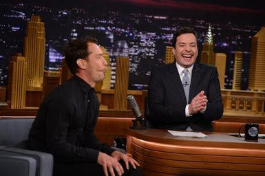 THE TONIGHT SHOW STARRING JIMMY FALLON -- Episode 0027 -- Pictured: (l-r) Jude Law playing Funny Faces with host Jimmy Fallon on March 25, 2014 - Photo by: Theo Wargo/NBC