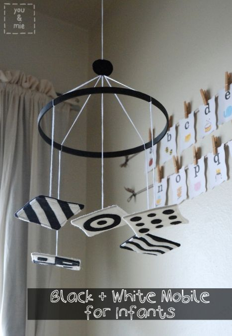 Black And White Mobile Diy Baby Mobile Diy Baby Stuff Baby Decor