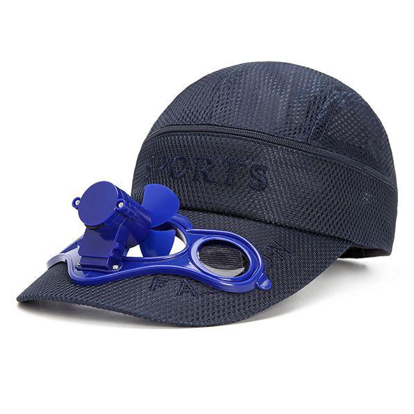 Solar Power Cooling Fan Snapback Baseball Cap Mens Women Summer Breathable Visor Hat Adjustable E 28 25