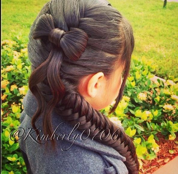 Fishtail braid w bow