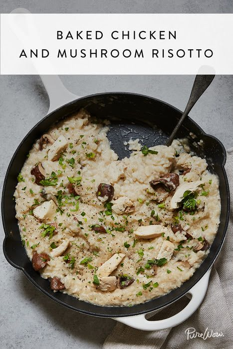 Baked Chicken and Mushroom Risotto via @PureWow
