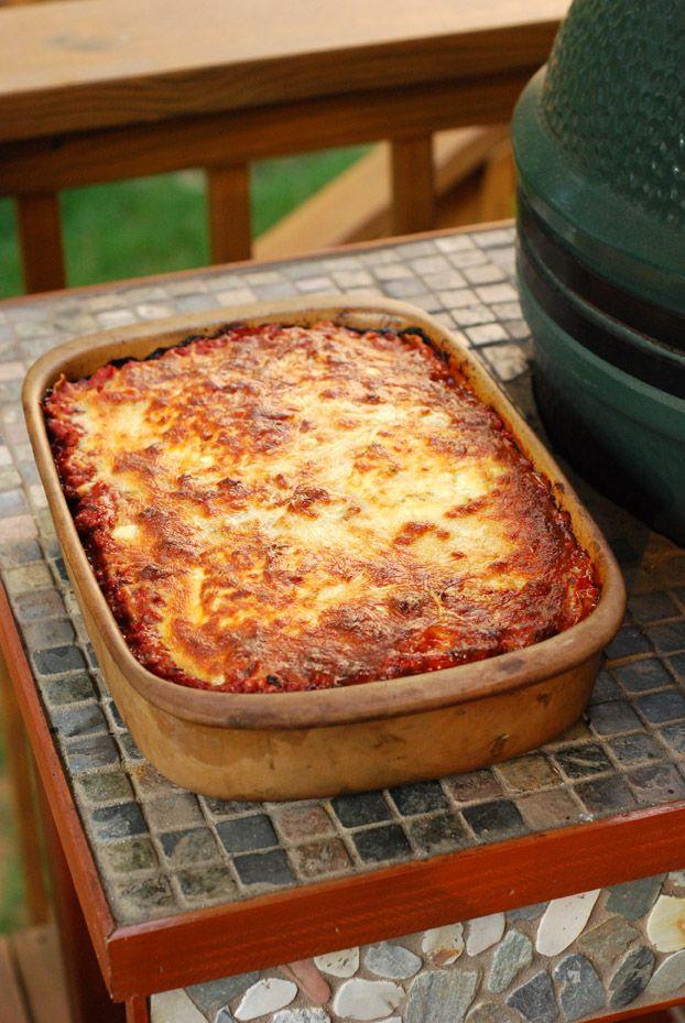 big green egg lasagna, grill dome lasagna, kamado joe lasagna