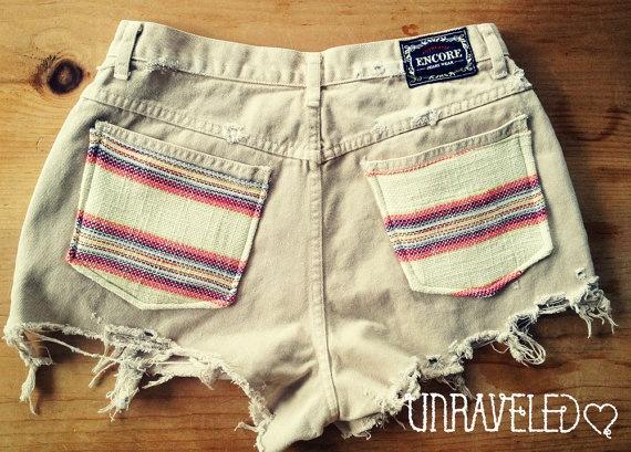 Extra High Waist Shorts Ethnic Tribal Pockets by UnraveledClothing