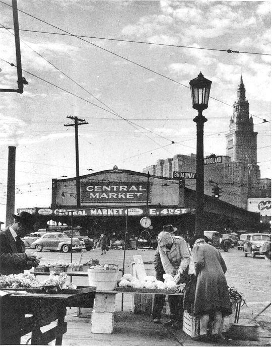 "Central Market, E. 4th Street cx. 1945 (established 1856 in Cleveland Ohio). This is now where Progressive Field, & the ""Q"" Arena sit."