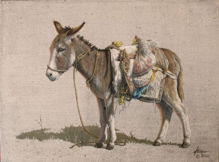 """Chella's Burro"" by Annette Hodges Acrylic ~ 12 x 16"