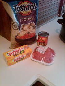 Touchdown Cheesie Chili Dip crockpot 1 lb Mexican Velveeta 1 lb ground beef 1 can beef chilli  2 Tbsp cream cheese  cube all the cheese, place in crock pot. Add chilli on top. Brown meat, drain fat and add to crock pot. 1-1.5 hours on low. Make sure you stir every few hours. Serve with tortilla chips.