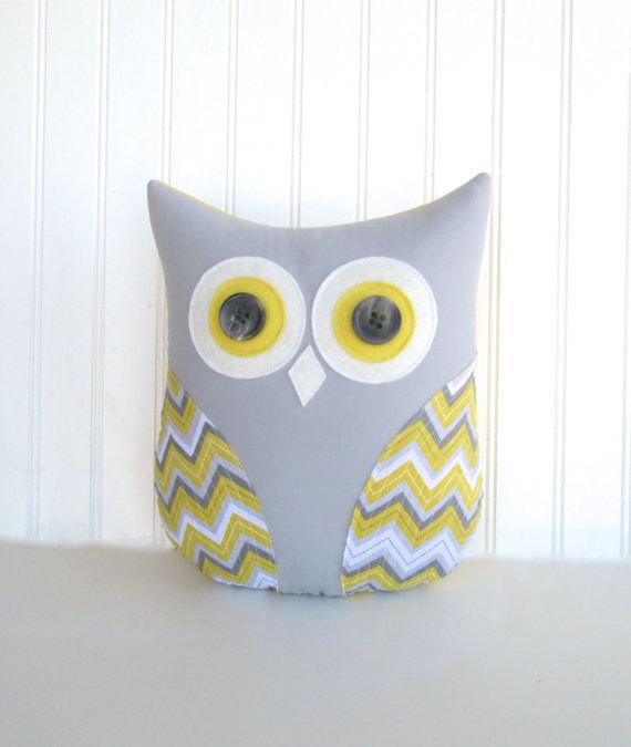 owl pillow, decorative grey and yellow owl pillow, gift under 40, grey and yellow nursery, zig zag, chevron pillow by whimsysweetwhimsy