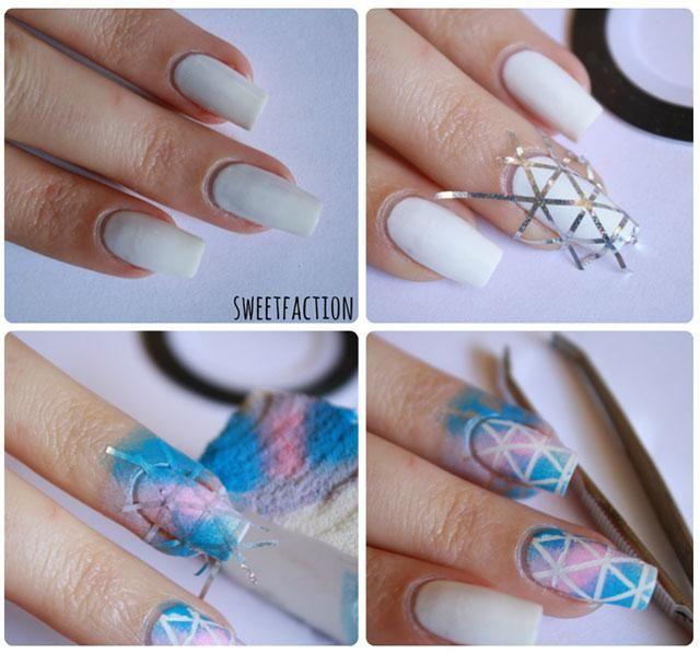 Uñas paso a paso degradadas con nail tape