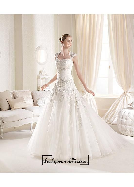 Alluring Tulle Satin Sweetheart Neckline Natural Waistline A Line Wedding Dress LuckyPromDress