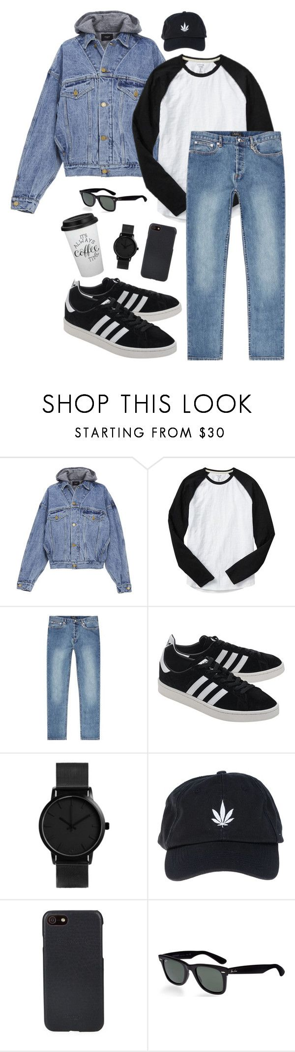 """""""look male"""" by rushanaofficials ❤ liked on Polyvore featuring Fear of God, Gap, A.P.C., adidas Originals, Palm Angels, Shinola, Ray-Ban, men's fashion and menswear"""