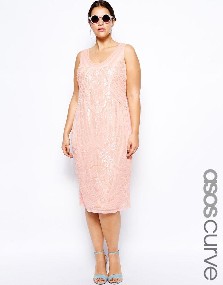 ASOS CURVE SALON Sequin Slip Dress