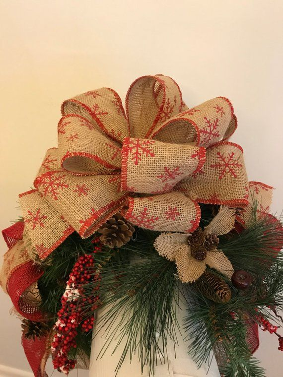 207mbs18 Rustic Christmas Mailbox Cover Rustic Christmas Mailbox Swag Rustic Christmas Decor Rustic Christmas Christmas Decorations Burlap Flowers