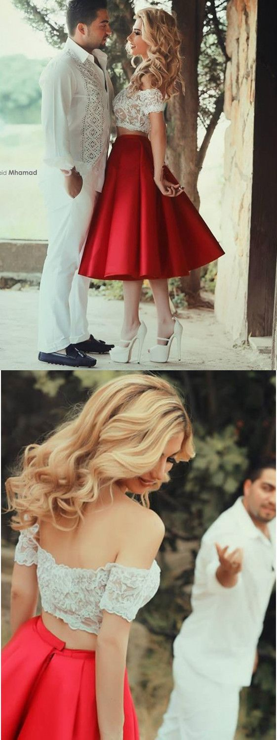 Two Pieces Prom Dresses, Cap Sleeve Prom Dress,Cute Homecoming Dresses,Red Prom Dresses,Lace Prom Dresses,Simple Hmecoming Gowns,Prom Party Dresses,Fashio Prom Dresses