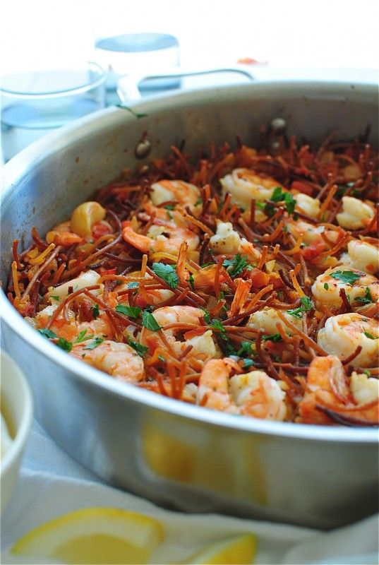 {paella with pasta} actually called - fideuá - this recipe is really interesting spin on tradtional paella where rice is used.