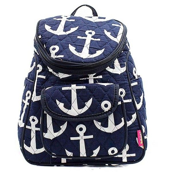 Nautical Anchor Print Canvas Small Backpack Handbag (1,310 PHP) ❤ liked on Polyvore featuring bags, backpacks, canvas bag, blue canvas backpack, blue canvas bag, canvas daypack and nautical backpack