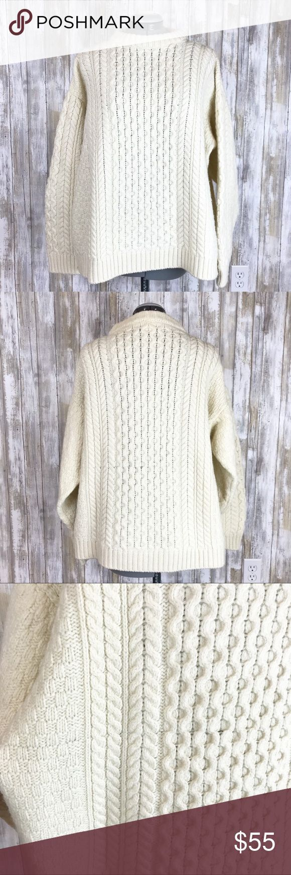 Blarney Woollen Mills Merino wool cream sweater XL Blarney Woollen Mills size XL. 100% Merino Wool cream chunky sweater. Great worn oversized! Back has one line that looks like a seam - as shown in photo. These chunky cream sweaters are so on trend - get this Blarney chunky sweater today! Blarney Sweaters