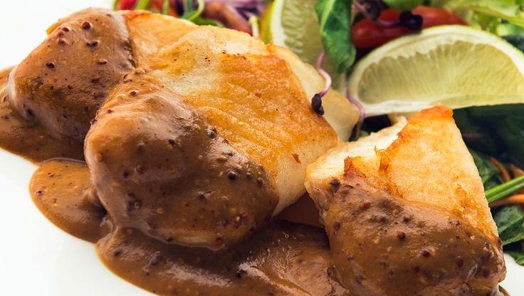 Roston sült tilápiafilé mustáros miszómártással   http://egyeletstilus.hu/bejegyzesek/1069/rostonsult-tilapia-file-mustaros-miso-martassal