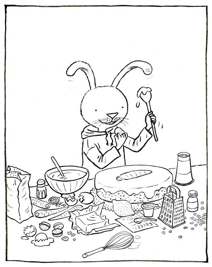 kleurplaat Haas wil worteltjestaartstaart