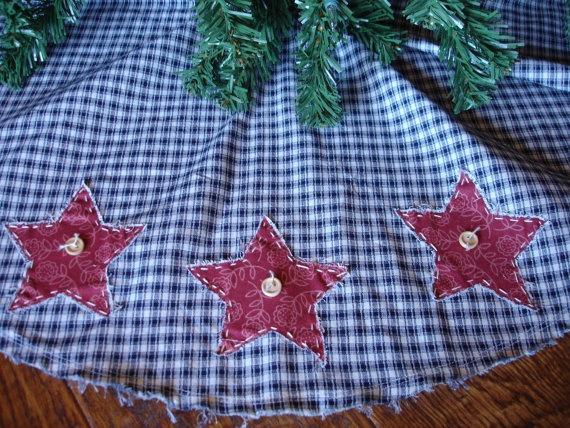 Primitive Christmas Tree Skirt Americana by KaysGeneralStore, $35.00