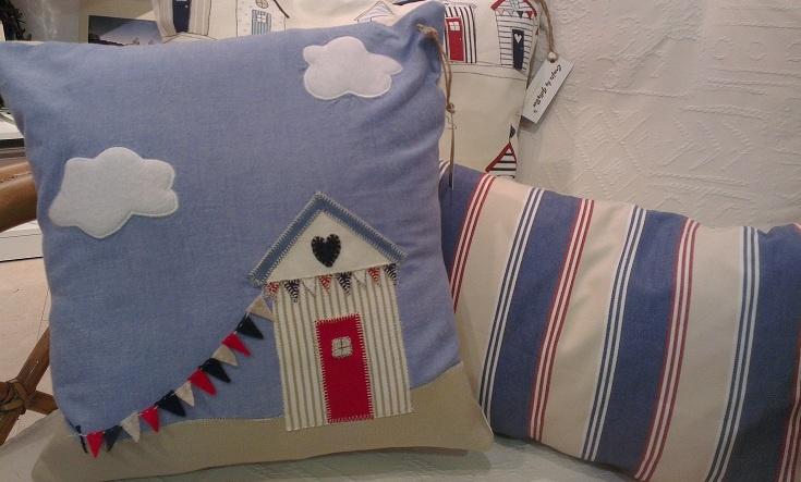 Beach hut cushion set, one with appliqued hut & felt bunting. GillyBee Crafts  https://www.facebook.com/GillybeeCrafts
