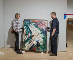 Our install crew moves mountains to get the #NewSFMOMA exhibition-ready. And we're happy to see Franz Marc's kaleidoscopic mountain range return — especially for today, his birthday!This painting, Steiniger Weg (Stony Path), formerly Gebirge/Landschaft (Mountains/Landscape) is a fusion of influences from Orphism, Cubism, and Futurism, and was actually repainted after Marc visited Robert Delaunay in Paris in 1912. Learn more about the painting here→  See more photos inside the #NewSFMOM...