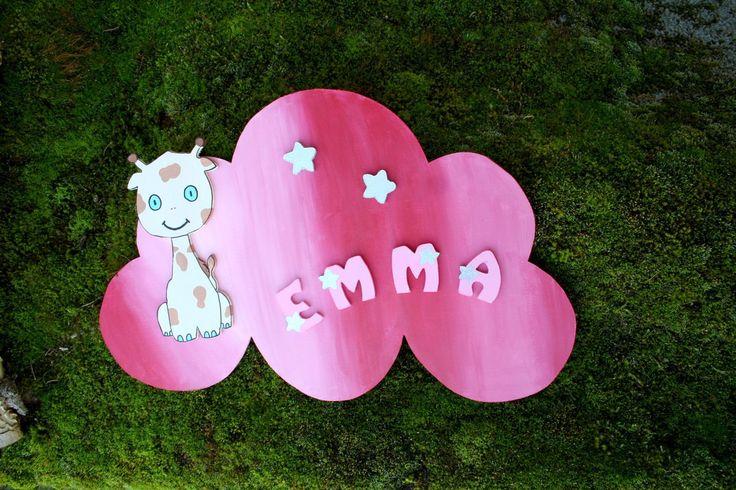 Panneau de porte - Prénom EMMA et girafe - Rose - Personnalisable : Chambre d'enfant, de bébé par boisdesoluthe