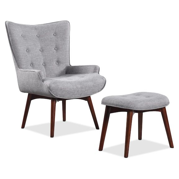 Living Room Furniture Kari Linen Look Fabric Accent Chair With