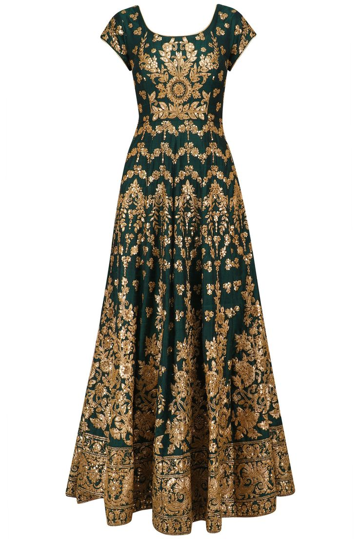 Bottle green embroidered anarkali set available only at Pernia's Pop Up Shop.