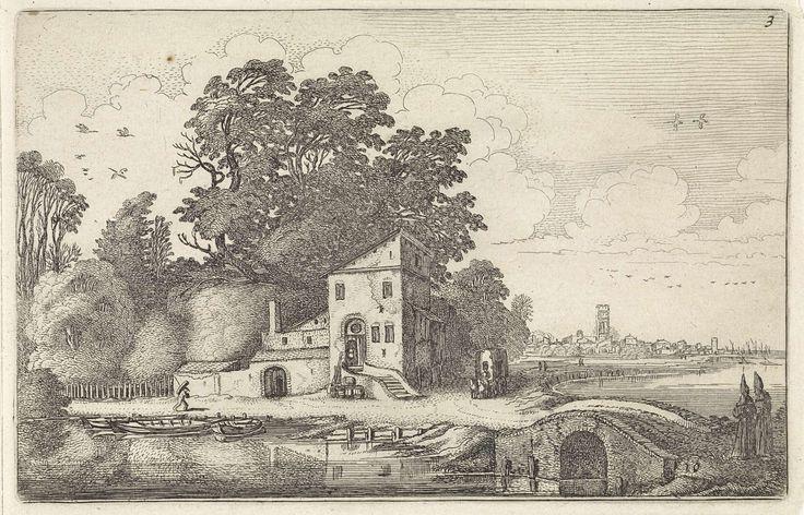 Jan van de Velde (II) | Huis bij een stenen brug in een rivierlandschap, Jan van de Velde (II), 1616 | Een man en een huifkar bij een huis langs een rivier met een stenen brug. Rechts op de voorgrond twee kloosterlingen en aan de horizon een stad. Tiende prent van deel drie van een serie van in totaal zestig prenten met landschappen, verdeeld over vijf delen van elk twaalf prenten.
