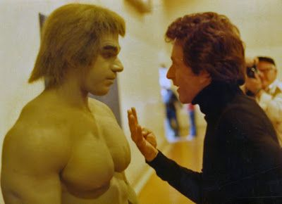 """behind-the-scenes on-set pic of Bill Bixby (""""Dr. Banner"""") directing Lou as the """"Hulk!"""