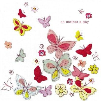 Elegant Mother's Day card illustrated with stitch-effect butterflies in pastel shades on a linen-look background - £2.45