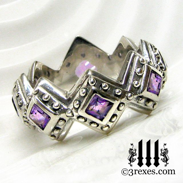 Renaissance Wedding Ring Amethyst Gothic Band 3 Rexes Jewelry by threerexesjewelry, via Flickr