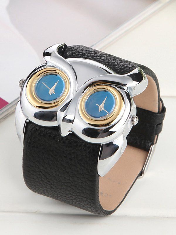 Waterproof Design Owl Irregular Double Dial Watch #shoes, #jewelry, #women, #men, #hats, #watches