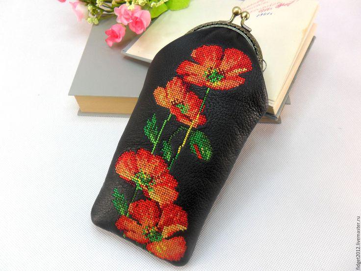 """Купить Очечник вышитый  """"Маки"""" - черный, цветочный, вышитый футляр, вышитый очечник, кожаный футляр"""