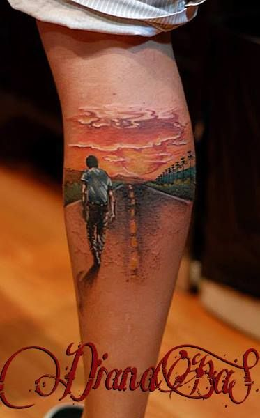 road,sunset...nice leg tattoo by Dia