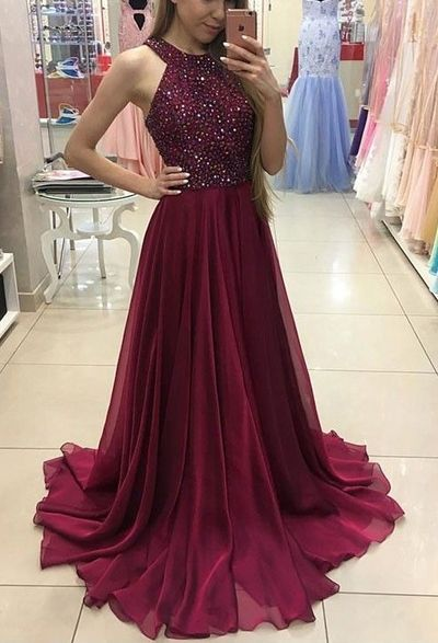 Chiffon Long Prom Dress, Halter Prom Dress, Beading Prom Dress