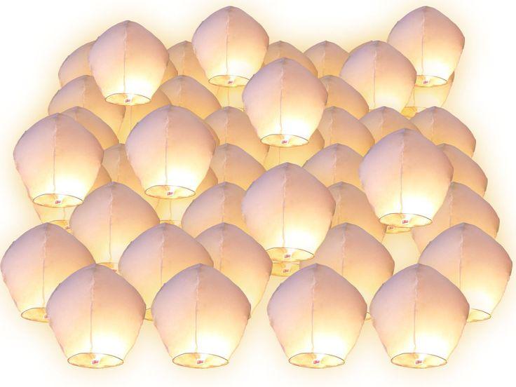 Lot de 50 Lanternes volantes blanches blanc surprise fête mariage céleste chinoise anniversaire extraordinaire: Amazon.fr: Jardin