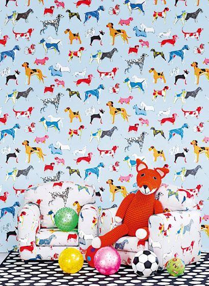 Bunte Hunde: Tapete Hot Dogs von Colefax & Fowler #tapete #kinderzimmer #englisch #design